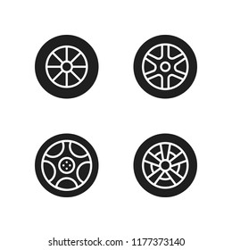rim icon. 4 rim vector icons set. alloy wheel icons for web and design about rim theme