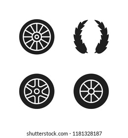 rim icon. 4 rim vector icons set. laurel and alloy wheel icons for web and design about rim theme