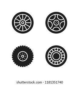 rim icon. 4 rim vector icons set. wheel and alloy wheel icons for web and design about rim theme