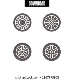rim icon. 4 rim vector set. alloy wheel icons for web and design about rim theme