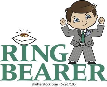 Ring Bearer Little Boy Brunette Hair Caucasian