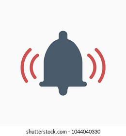 ring bell grey color sound red line icon