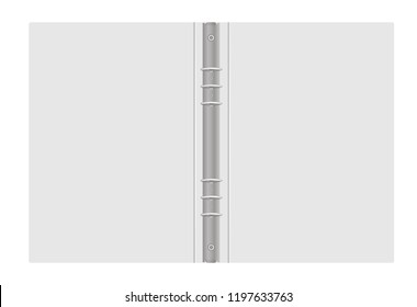 Ring binder, vector mockup. Open gray folder with metal rings isolated on white background, template