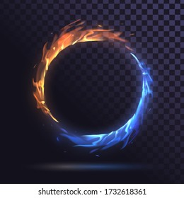 Ring of blue and red flame, round burning frame of fire on a transparent background