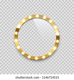 Ring bulb frame isolated on transparent background. Vector template.