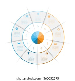 Ring from colored lines infographic, can be used for workflow layout, diagram, web design, nine number options, steps, text areas