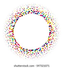Ring of colorful dots scattered around. Modern design halftone element. Vector illustration.