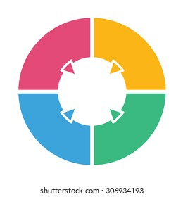 Ring diagram of four colored sections. Template infographics.
