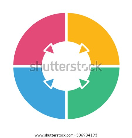 ring diagram of four colored sections  template infographics