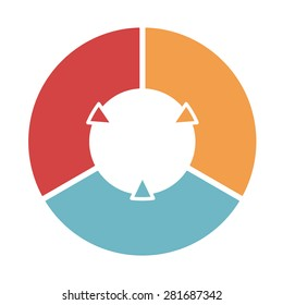 Ring diagram of three colored sections. Template infographics.