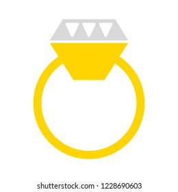 Ring with Diamond Icon Vector Logo Template (Gold, Diamond, Engagement, Wedding)