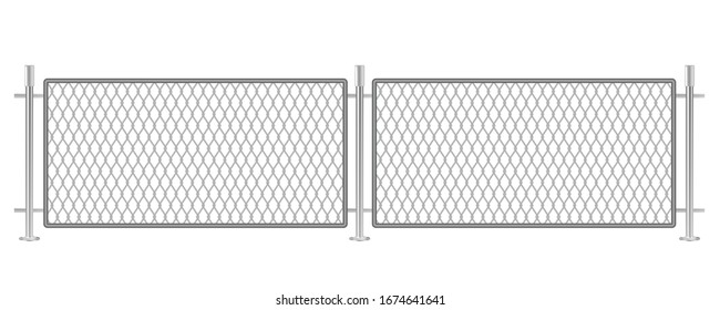 Ring fence barrier isolated on white background. Rhomb-net type of a metallic border. Security matter passage restriction fencing. Trespassing forbidden area. Prison or military territory.
