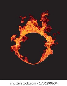 Ring of fire in black background,vector illustration