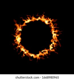 Ring of fire design. Vector illustration circle flame. Black background.