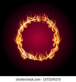 Ring of fire. Realistic burning flame. Flaming effect red flaming isolated vector illustration on a dark background