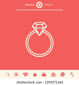 Ring with gemstone, diamond - line icon. Graphic elements for your design