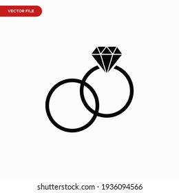Ring icon vector. Simple wedding rings sign