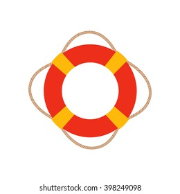 Ring life buoy vector illustration. Ring life buoy icon isolated. Ring life buoy summer symbol. Ring life buoy for traveling design. Summer time vacation Ring life buoy icon isolated