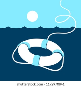 Ring lifebuoy and sea. Vector illustration. Blue. Dark blue. White.
