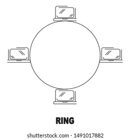 ring network topology vector black linear flat style icon