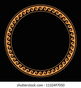 Ring with seamless running dog pattern. Ocher colored meander design over black. Waves shaped into repeated motif. Scroll pattern used as decorative border. Vitruvian wave or Vitruvian scroll. Vector