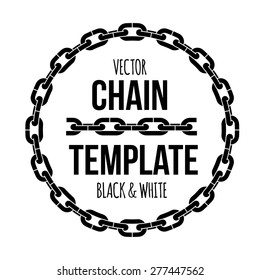 Ring shape chain emblem, black and white vector illustration logo. Design for stickers, logo, web and mobile app.