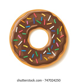 Ring shaped Chocolate Glazed Donut with colorful sprinkles vector illustration