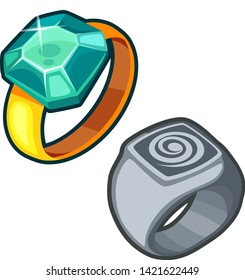 Ring with stone and signet cartoon vector isolated icon