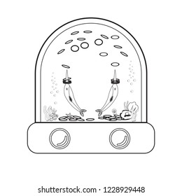 Ring toss water game outline stroke icon. Portable Water Games - Handheld water game. Waterfuls Ring Toss Game. Element of toys icon for mobile concept thin line. Vector , illustration