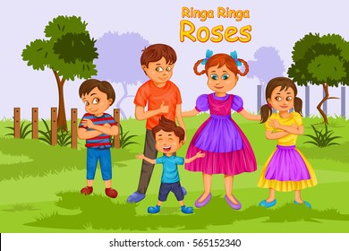 Ringa Ringa Roses, Kids English Nursery Rhymes book illustration in vector