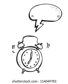 Ringing alarm clock hand-drawn cartoon