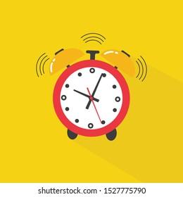 Ringing alarm clock. Alarm clock icon. Flat design style. Simple icon Modern flat icon in stylish colors. Website page and mobile app design element.
