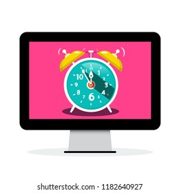 Ringing Alarm Clock on Computer Screen - Vector Time Icon Isolated on White Background