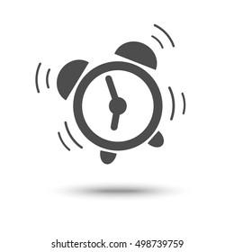 Ringing alarm clock. Wake-up, wakeup symbol.