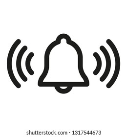 Ringing alarm vector icon, bell linear pictogram