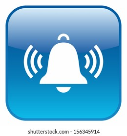 Ringing bell (glossy rounded button, blue version)