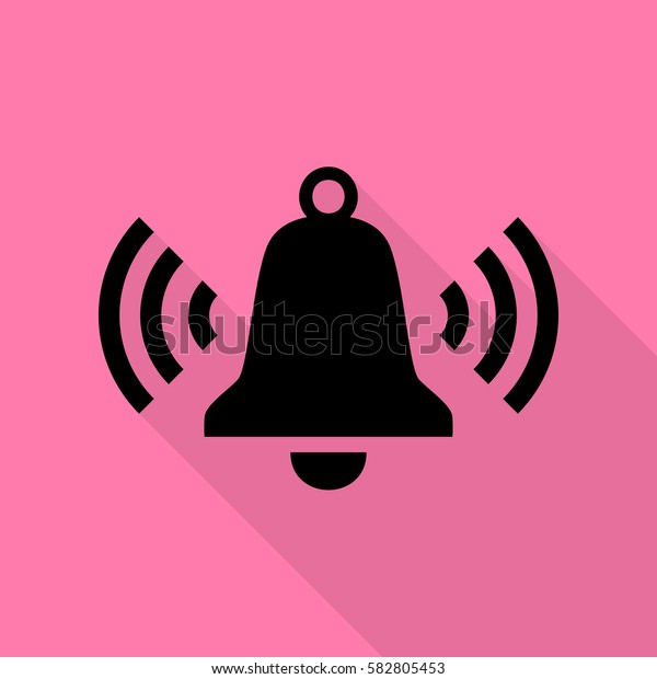 Ringing bell icon. Black icon with flat style shadow path on pink background.