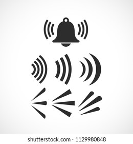 Ringing bell sounds vector icon isolated on white background