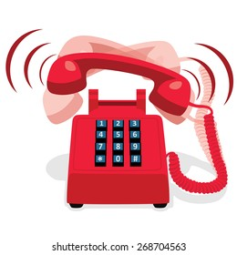 Ringing red stationary phone with button keypad. Vector illustration.