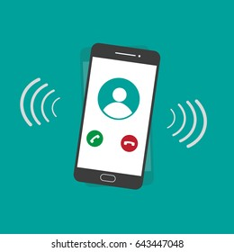 Ringing smartphone flat design vector on green background