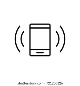 ringing smartphone line icon on white background