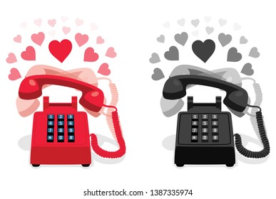 Ringing stationary retro phone with button keypad and with hearts. Vector illustration.