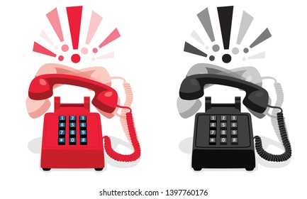 Ringing stationary retro phone with button keypad and with exclamation marks. Vector illustration
