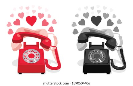 Ringing stationary retro phone with rotary dial and with hearts