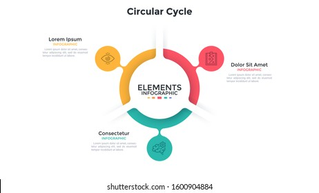 Ring-like chart with 3 colorful bubble protuberances. Concept of three stages of cyclic process. Flat infographic design template. Simple vector illustration for closed business cycle visualization.