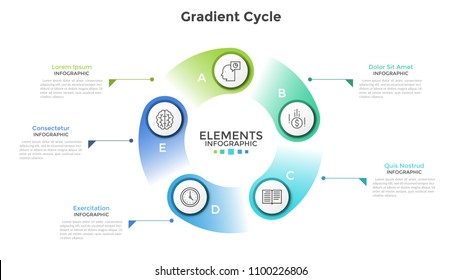 Ring-like chart with 5 circular paper white elements, linear icons, letters and place for text. Concept of cyclic process with six steps. Creative infographic design template. Vector illustration.