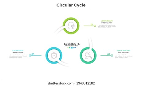 Ring-like diagram with 3 round paper white elements. Concept of cyclical business process with three steps. Clean infographic design template. Modern vector illustration for presentation.