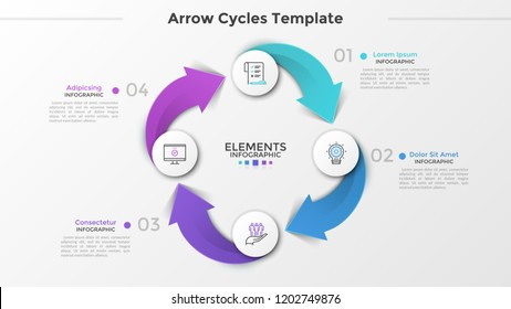 Ring-like diagram with 4 paper white round elements, linear symbols, numbers and text boxes connected by arrows. Four-stepped cyclical business process. Infographic design layout. Vector illustration.