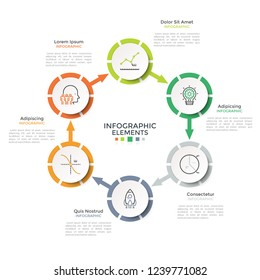 Ring-like diagram with 6 paper white circular elements connected by arrows. Modern infographic design template. Vector illustration for production cycle steps visualization, cyclical process chart.