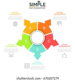 Ring-like diagram divided into 5 equal sectors with arrows pointing at thin line icons and text boxes. Concept of five directions to choose. Minimal infographic design layout. Vector illustration.